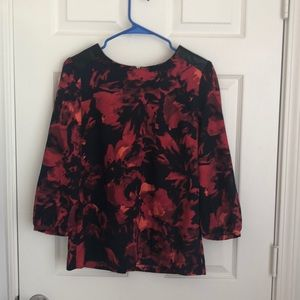 Navy Blue and Red Flowery Top with Leather Detail